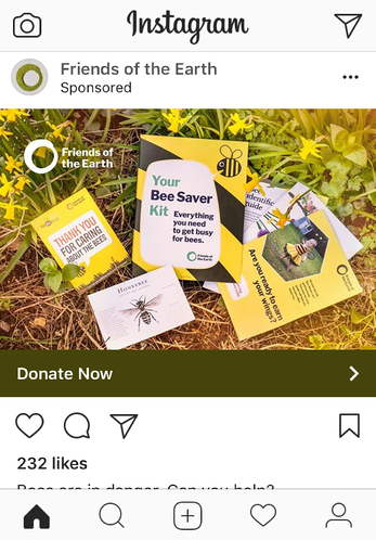 Friends of the Earth Instagram picture ad