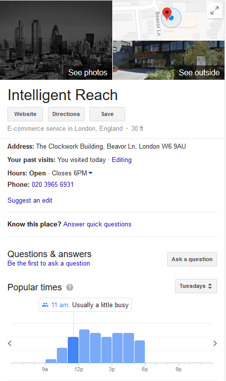 Intelligent Reach Google My Business Listing local inventory ads