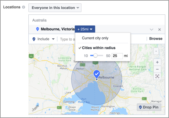 Facebook Business Cities Within Radius