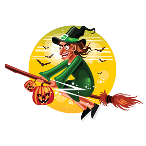 Witch on a broomstick