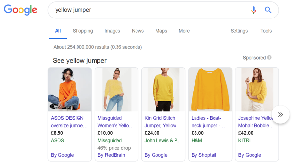 Yellow Jumper Google Shopping