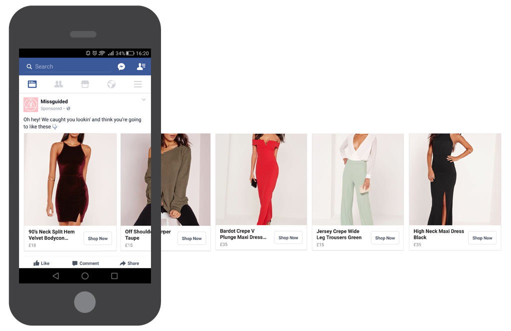 Missguided Carousel Facebook ad eCommerce Marketing Channels