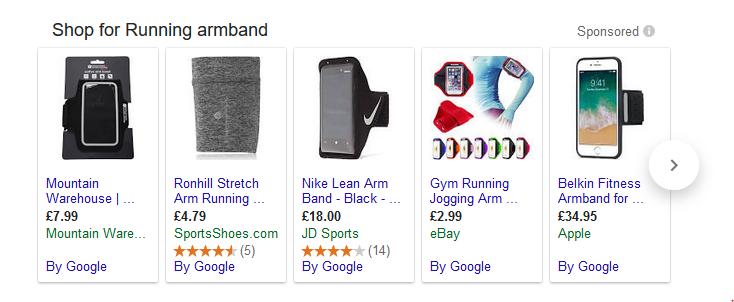 running armband Google Shopping ads