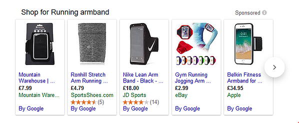 running armband Google Shopping ads